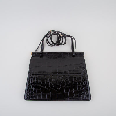 leather bag in black crocodile by Marge Sherwood at Secret Location Concept Store
