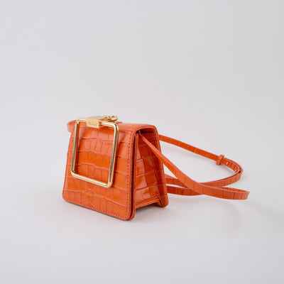 mini leather shoulder bag in orange croc by Marge Sherwood at Secret Location Concept Store