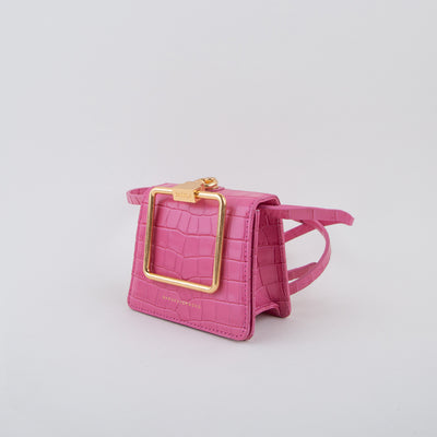 mini leather shoulder bag in pink croc by Marge Sherwood at Secret Location Concept Store