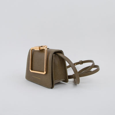 Pump Handle Mini Crossbody Bag, khaki lizard