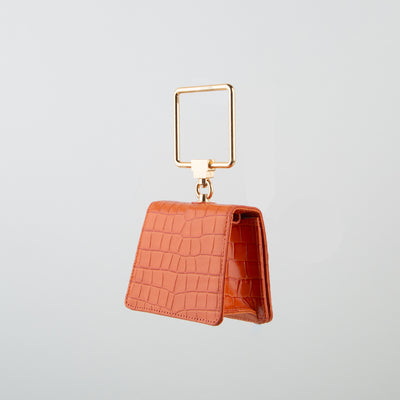 Pump Handle Mini Crossbody Bag, orange crocodile
