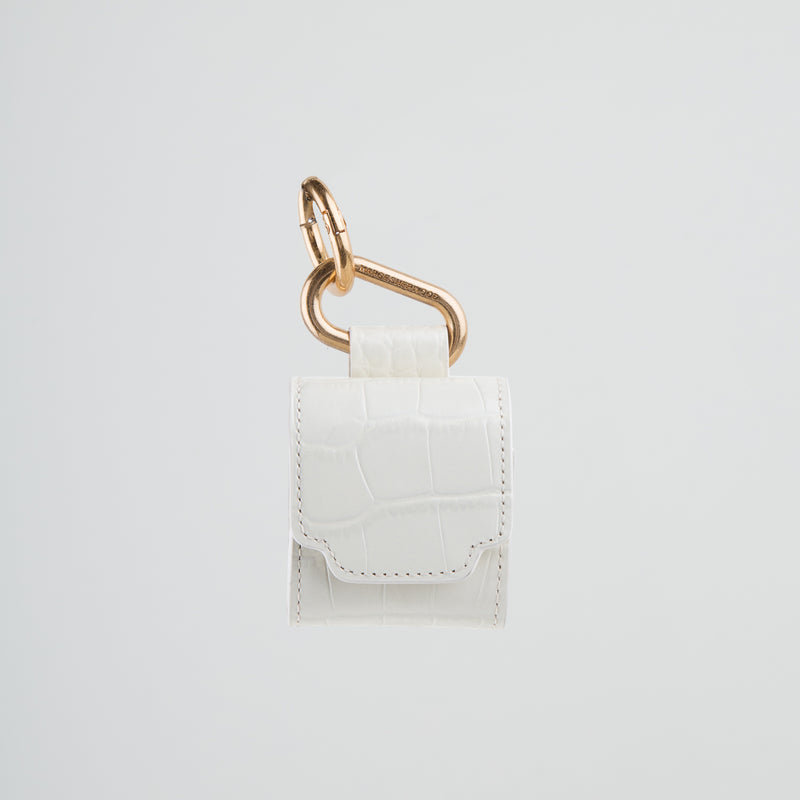 luxury leather airpod case in ivory croc by Marge Sherwood at Secret Location concept store