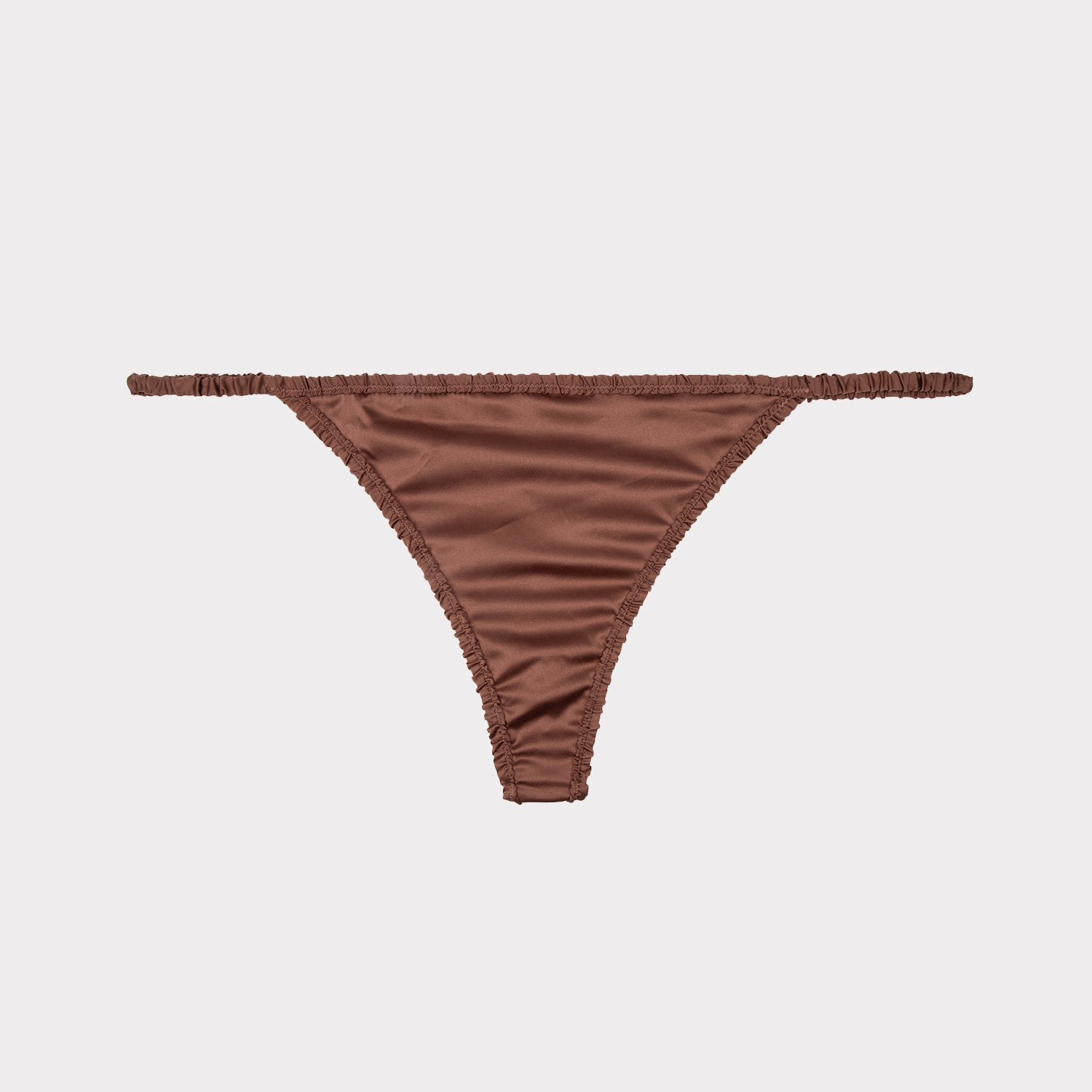 roomie swiss chocolate luxury thong in brown satin by Love Stories at Secret Location