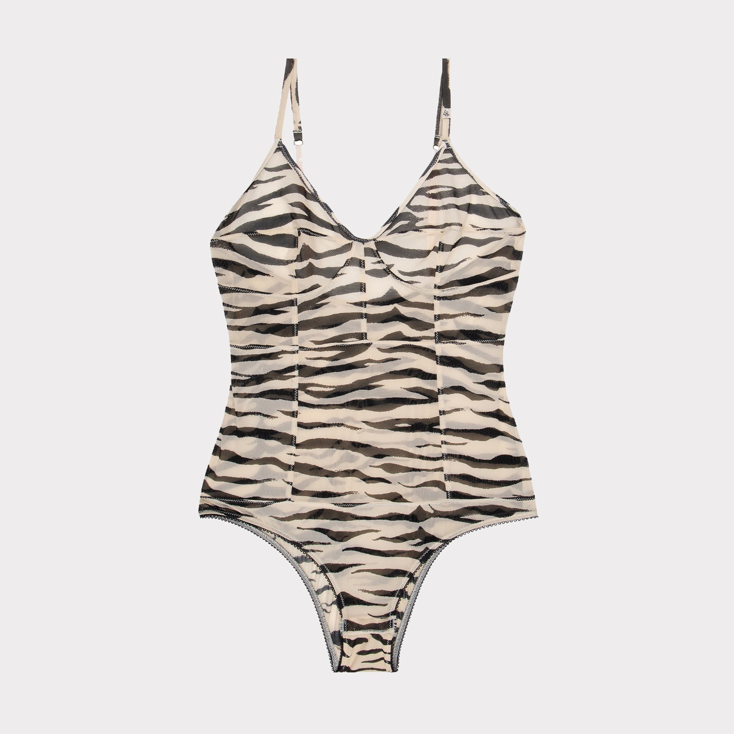 cece luxury bodysuit in zebra and tiger print by Love Stories at Secret Location