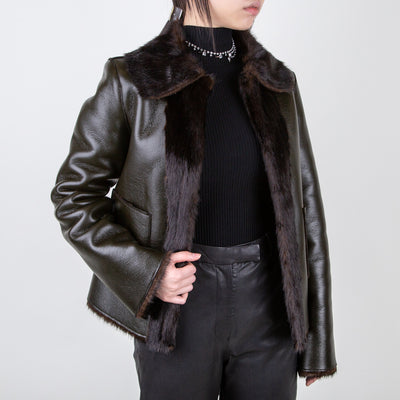 luxury faux fur vegan leather reversible jacket by Marei1998 at Secret Location