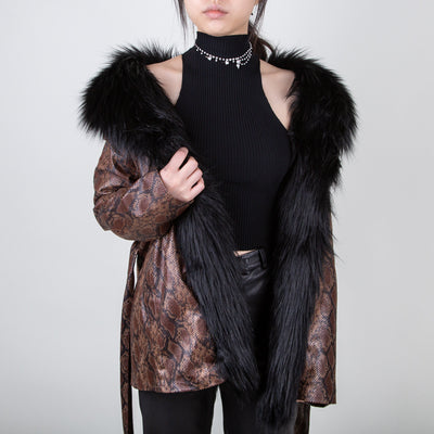 luxury faux fur vegan leather midi jacket in snake print by Marei1998 at Secret Location