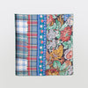 Square Pattern Silk Scarf, floral and plaid