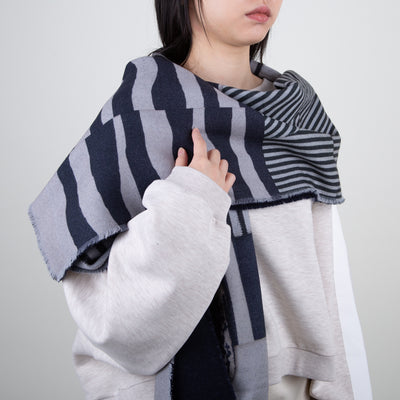 wool printed scarf in navy and grey luxury design