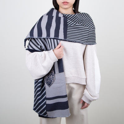 Mix Print Wool Scarf, navy and grey