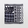 Square Print Silk Scarf, black and white