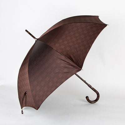 checked print brown umbrella with hickory handle