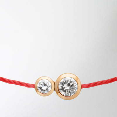 Infinite String Bracelet, red with rose gold