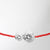 Infinite String Bracelet, red with white gold