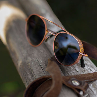 Amba Aviator, rose gold & blue