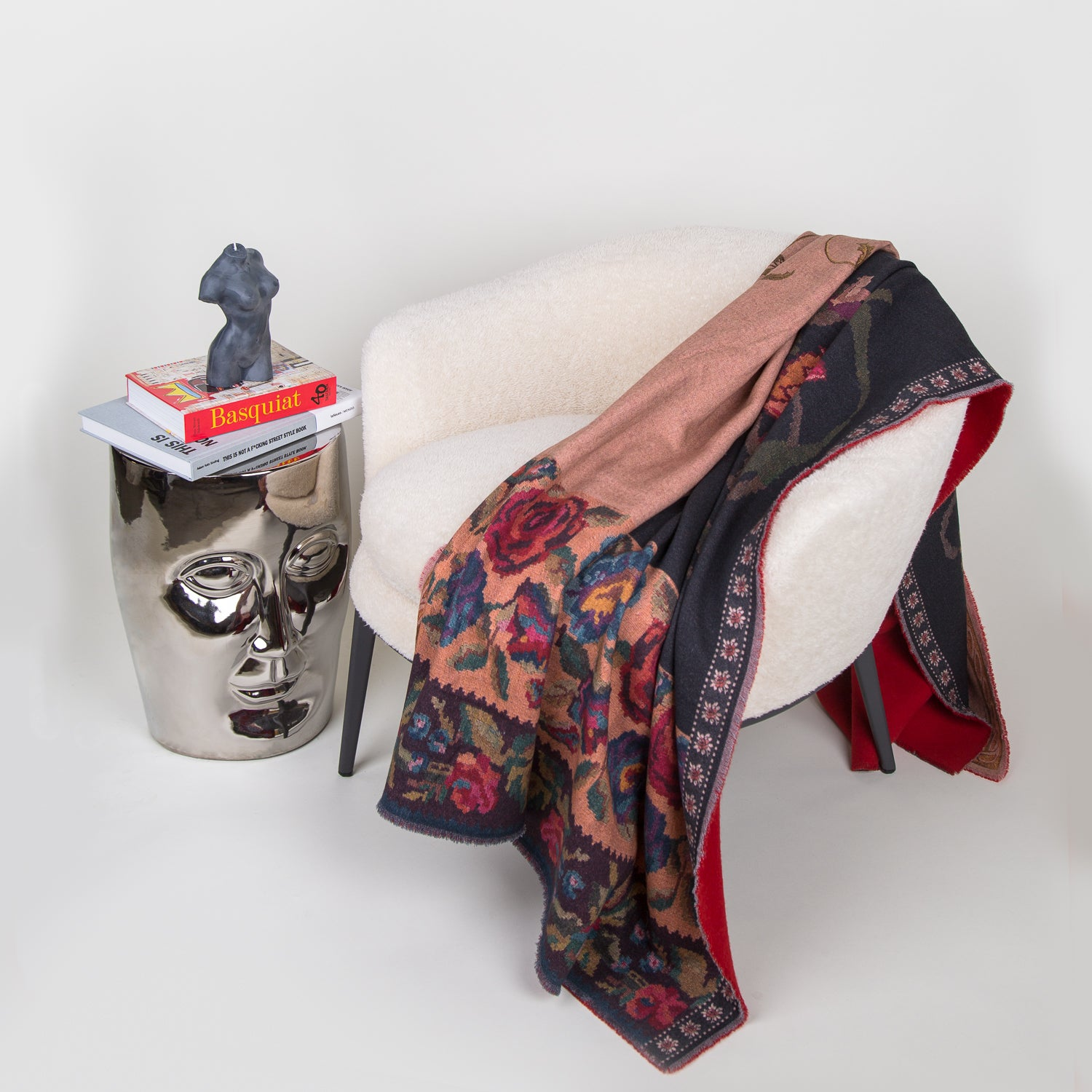 luxury wool printed floral blanket at secret location concept store