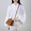Pump Handle Shoulder Bag, camel beige crocodile