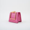 Pump Handle Mini Crossbody Bag, pink crocodile