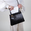 Acco Medium Shoulder Bag, black crocodile