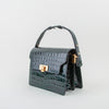Vintage Brick Handbag, green crocodile