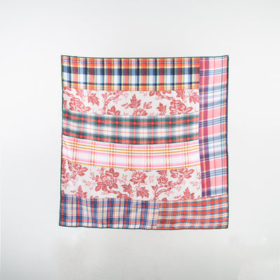 Floral & Plaid Silk Scarf