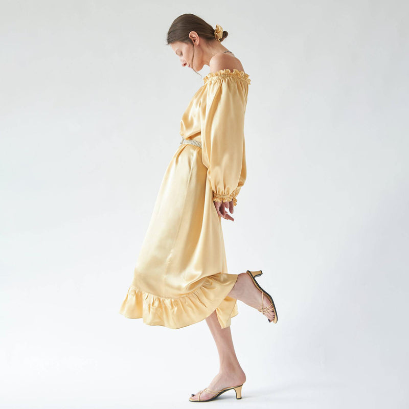 loungewear dress in champagne colour by sleeper at secret location