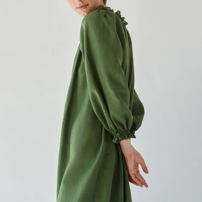 Lounge Linen Dress, cypress green