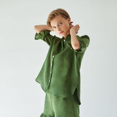 Lounge Linen Suit, cypress green