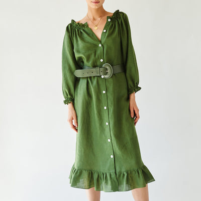 cypress green lounge linen dress by sleeper at secret location