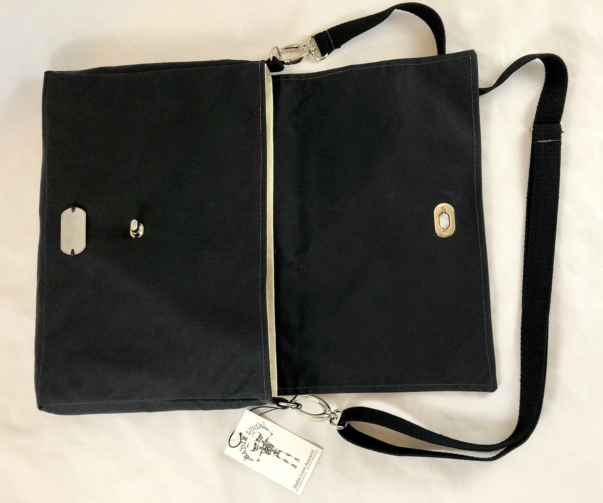 Waxed Canvas Messenger - Black - Sadie Luca