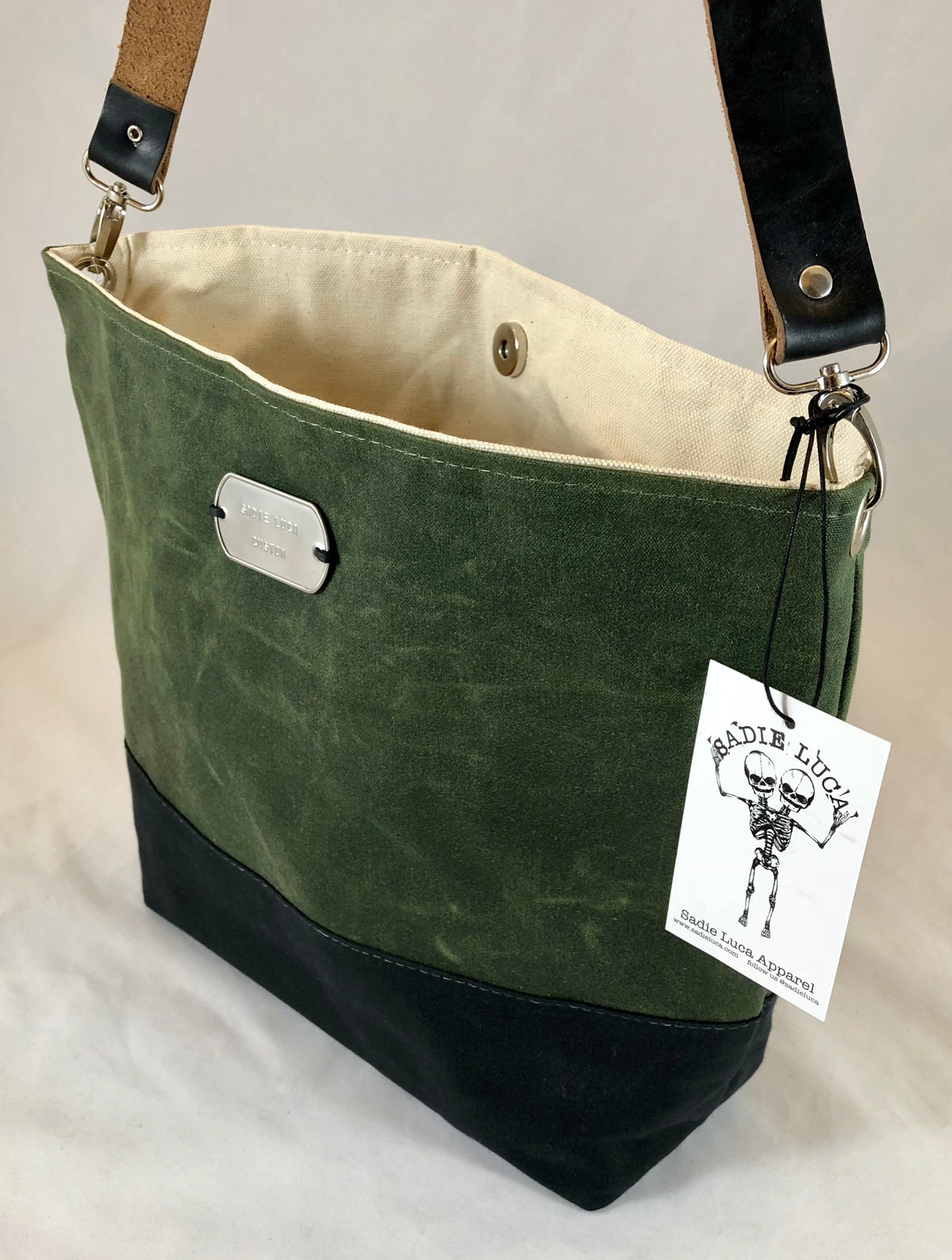 Sadie Waxed Canvas Purse - Olive/Black - Sadie Luca