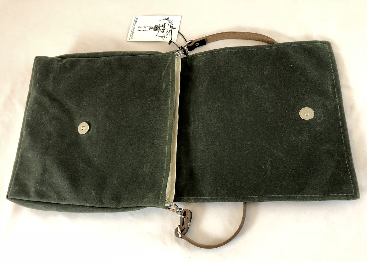 Small Waxed Canvas Messenger - Olive - Sadie Luca