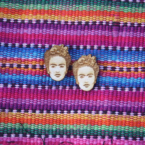 Frida Kahlo Wood Studs