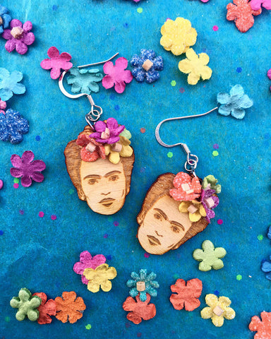 Frida's FlowerWood Earrings ~ Cultura Corazon
