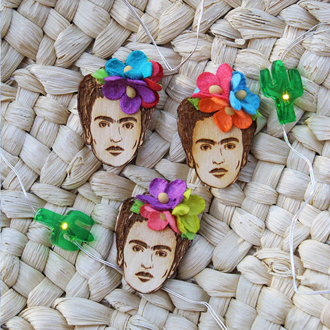"Frida Kahlo Wood Pin ~ 1.25"" tall"