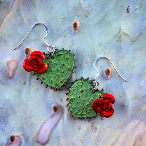 Cactus Hearts with Rose Earrings