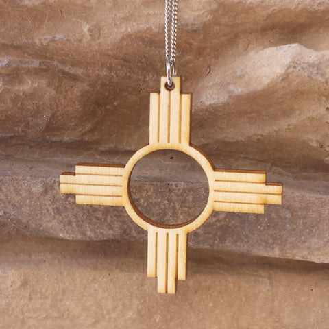 New Mexico Zia Symbol Wood Pendent