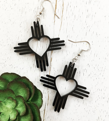 Zia Heart Earrings 1.5""