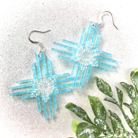 Zia Snowflake Earrings 2""