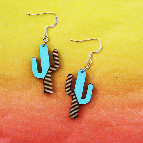 "1"" Saguaro  Wood Cactus Earrings"