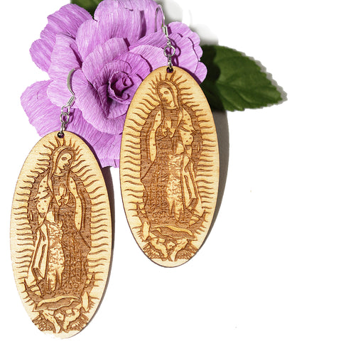 Our Lady of Guadalupe Earrings ~ Wood