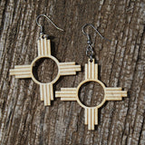 Wood Zia Symbol Earrings ~ Pick Your Color