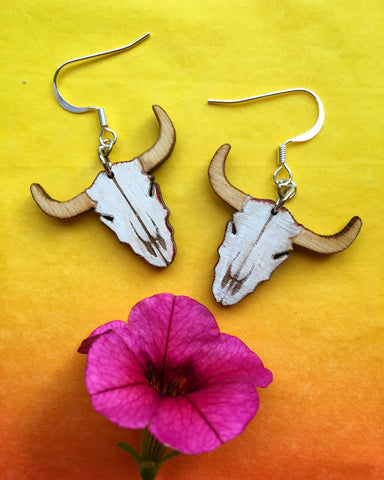"1"" Wood Cow Skulls Dangle Earrings"