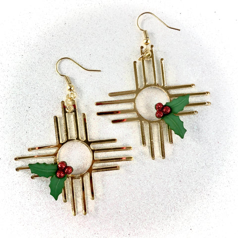 Zia Holly Holiday Earrings 2""