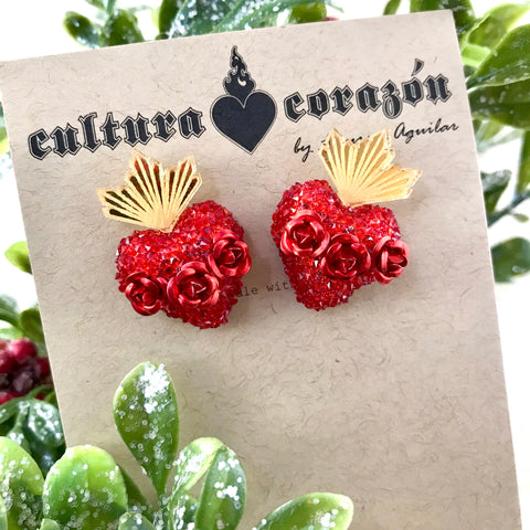 LA Sacred Heart Stud Earrings