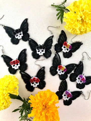 Santa Muerte Moth Earrings