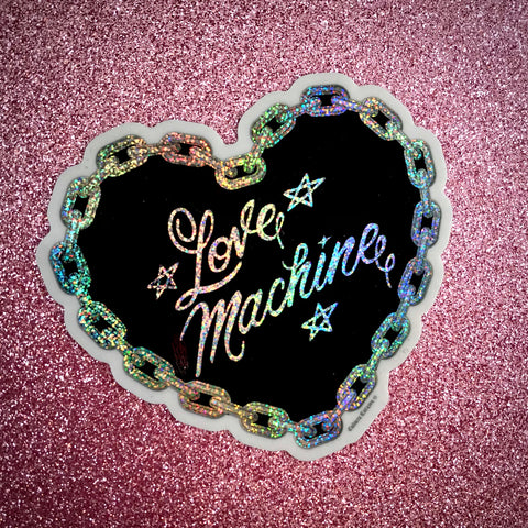 Love Machine Glitter Heart Sticker