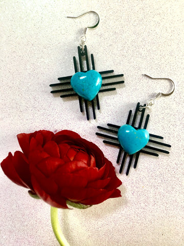 Zia Stone Heart Earrings