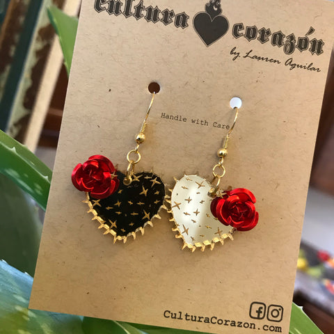 Emma Cactus with Rose Earrings-cooper