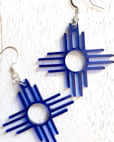Zia Sun Symbol Earrings ~ 1.5""