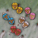 Colorful Wood  Luchador Mask Earrings ~ Lucha Libre